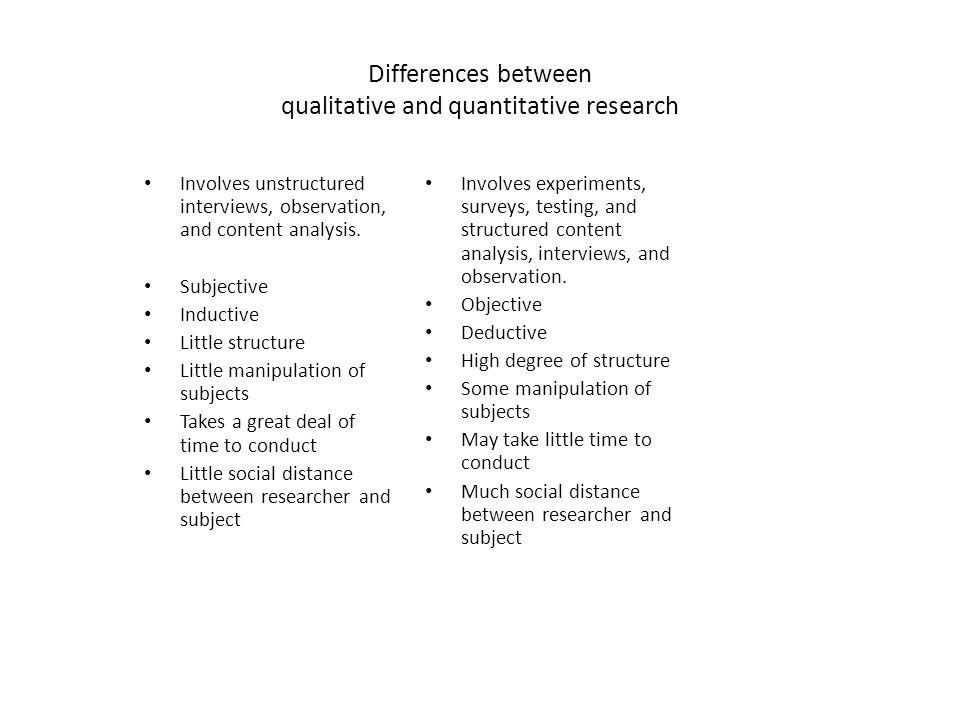 Differences between qualitative and quantitative research
