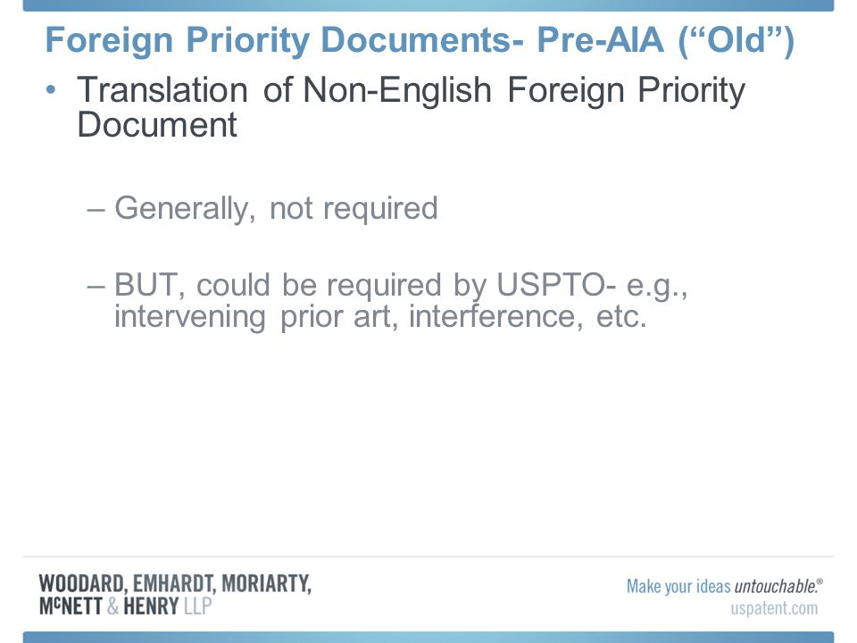 Foreign Priority Documents- Pre-AIA ( Old )