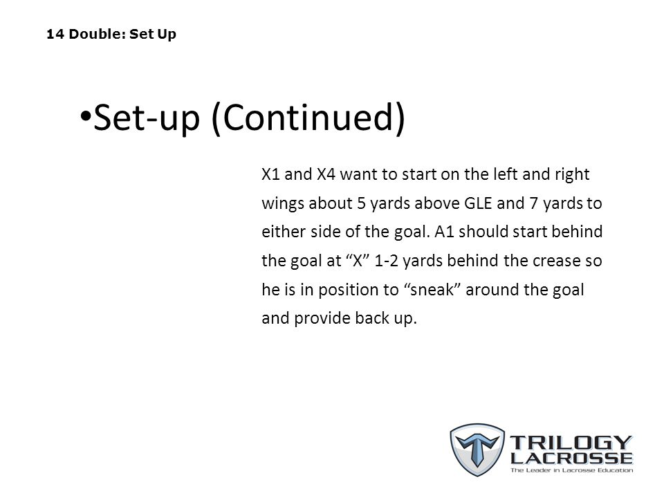 14 Double: Set Up Set-up (Continued)