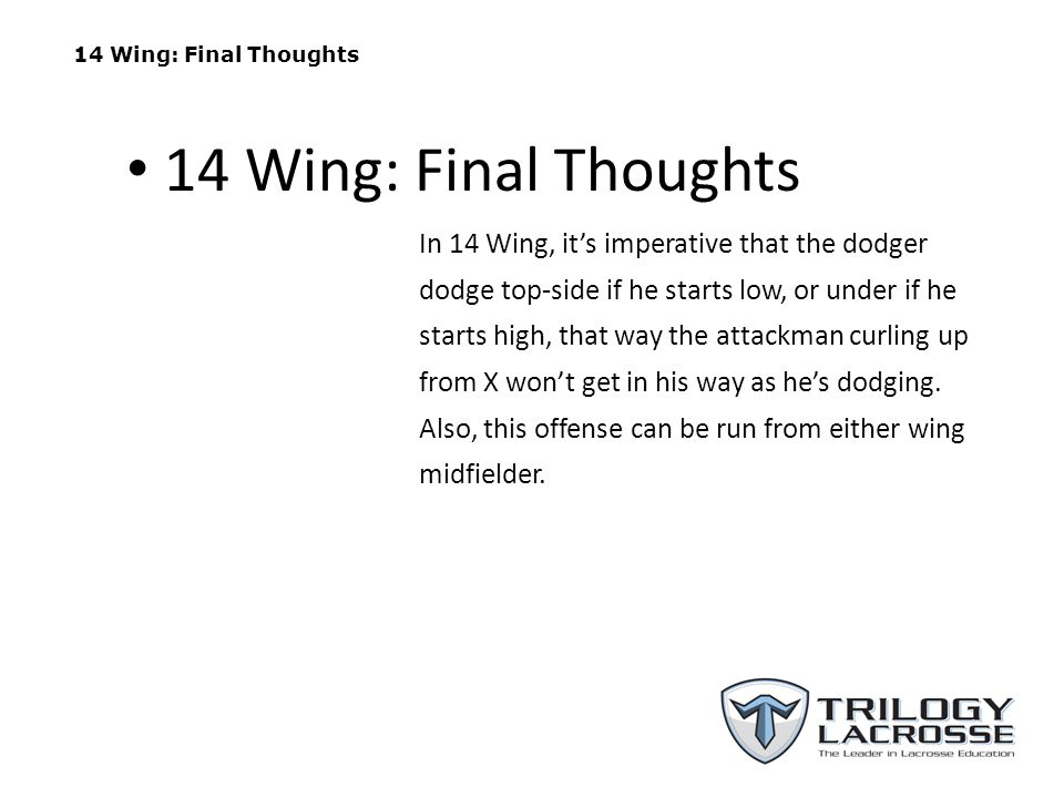 14 Wing: Final Thoughts 14 Wing: Final Thoughts.
