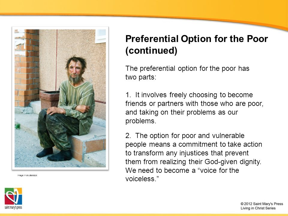 Preferential Option for the Poor (continued)