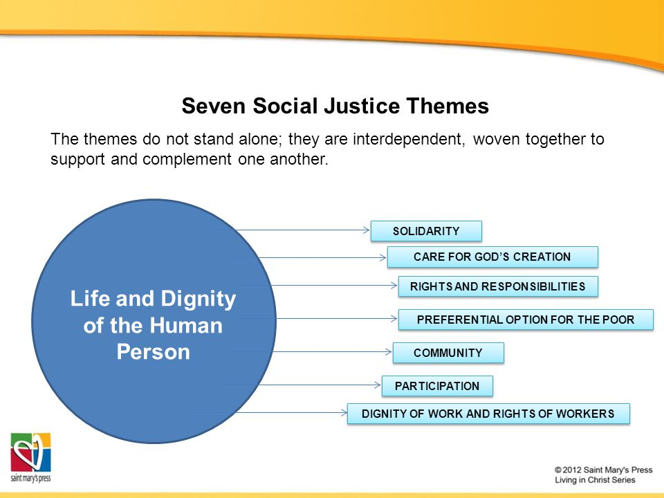 Seven Social Justice Themes Life and Dignity of the Human Person