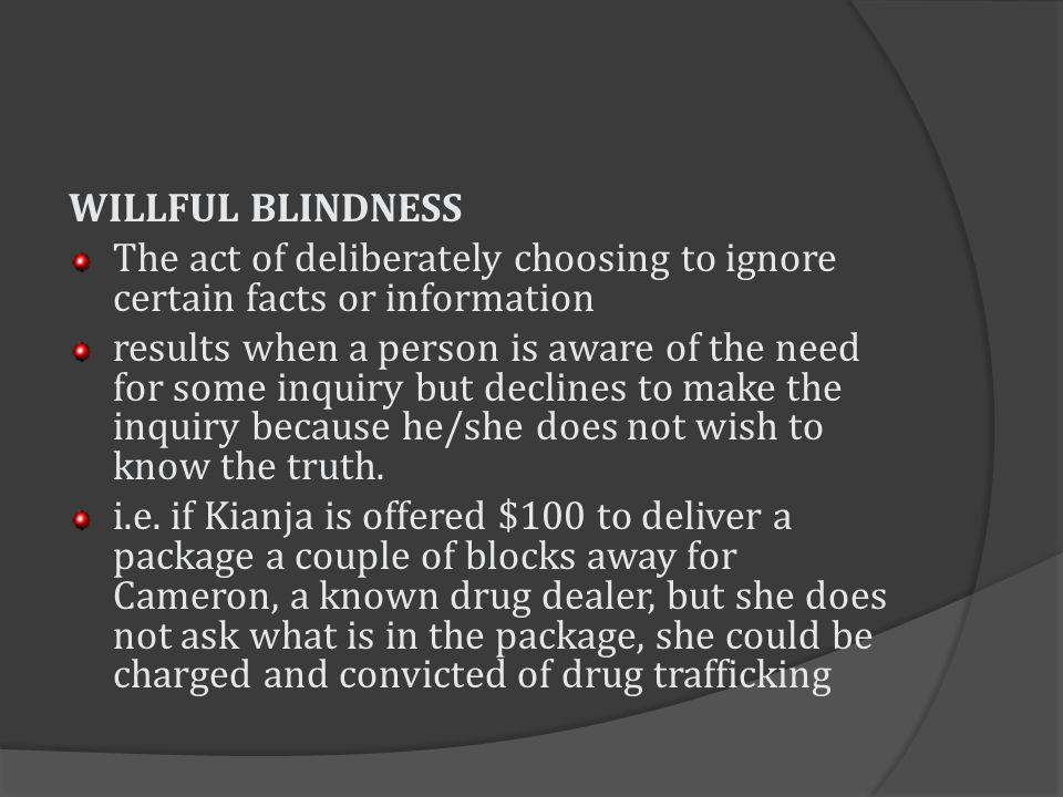 WILLFUL BLINDNESS The act of deliberately choosing to ignore certain facts or information.