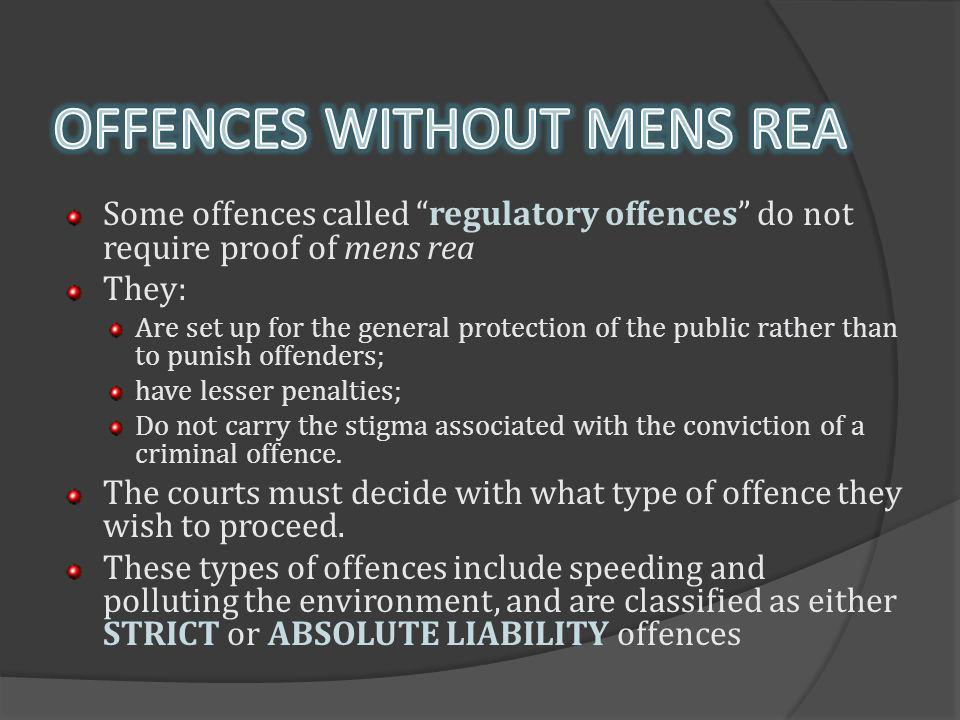 OFFENCES WITHOUT MENS REA