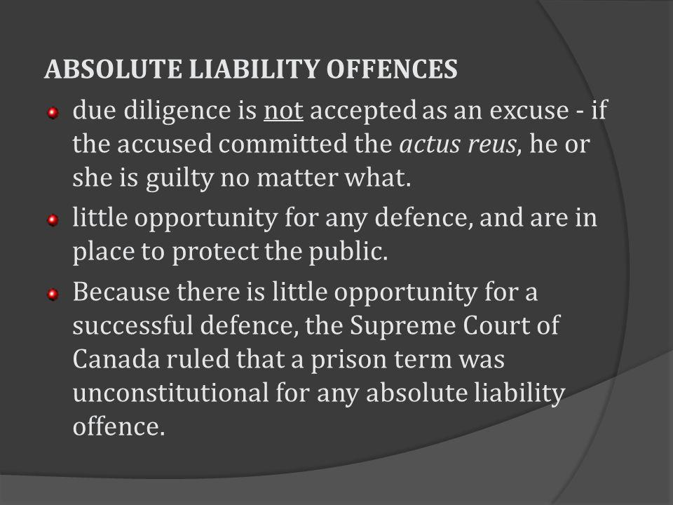 ABSOLUTE LIABILITY OFFENCES