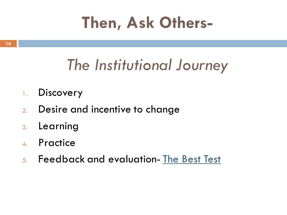 Then, Ask Others- The Institutional Journey