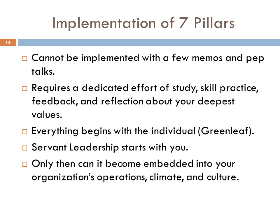 Implementation of 7 Pillars