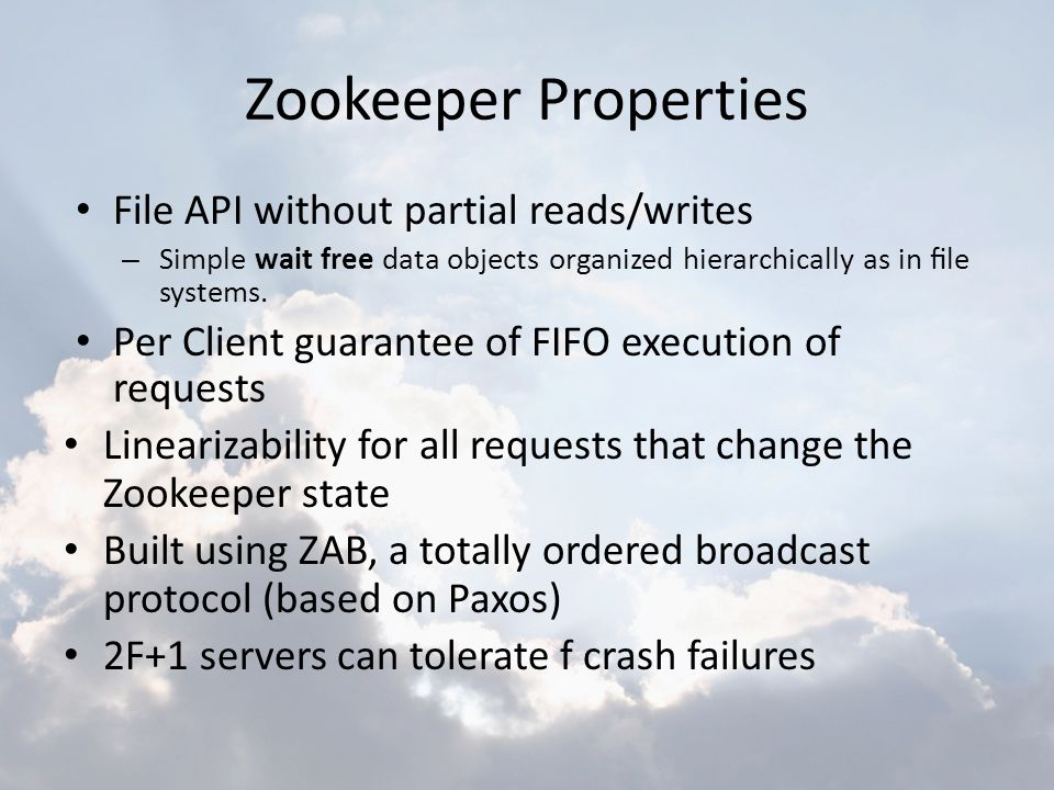 Zookeeper Properties File API without partial reads/writes