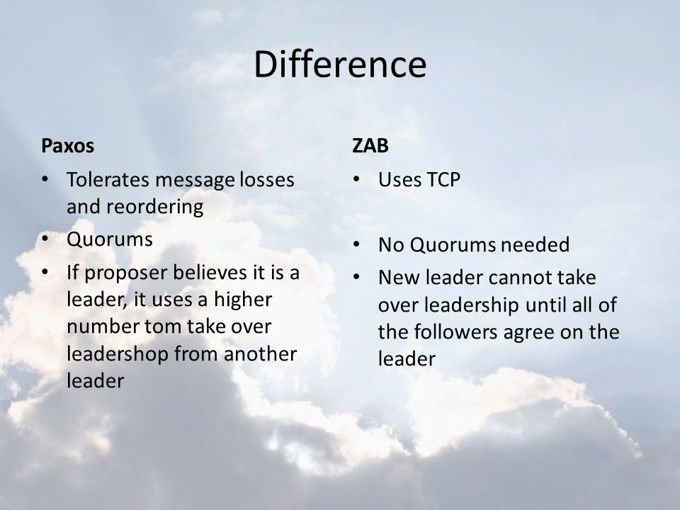 Difference Paxos ZAB Tolerates message losses and reordering Quorums