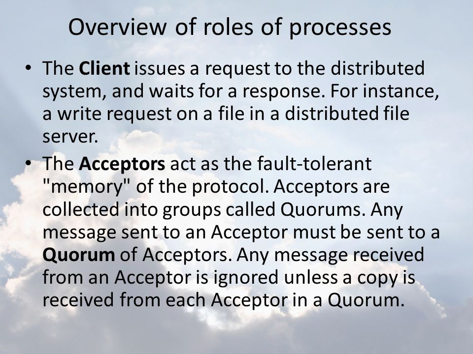 Overview of roles of processes