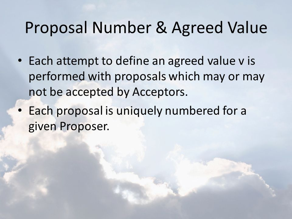 Proposal Number & Agreed Value