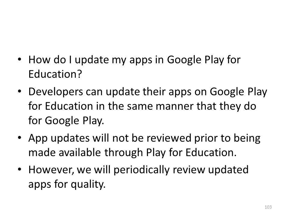 How do I update my apps in Google Play for Education