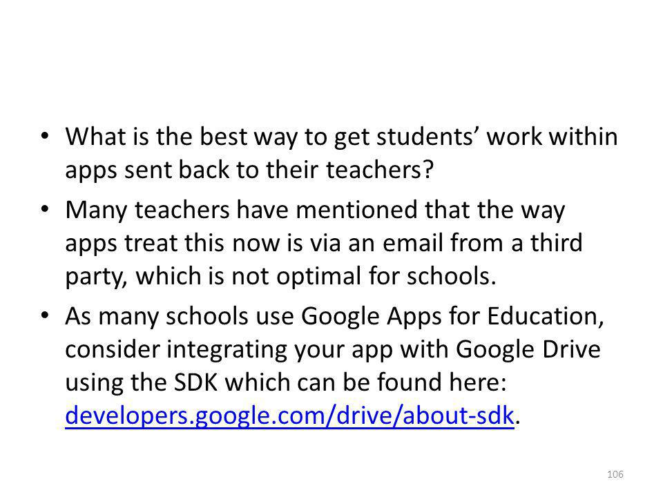 What is the best way to get students' work within apps sent back to their teachers