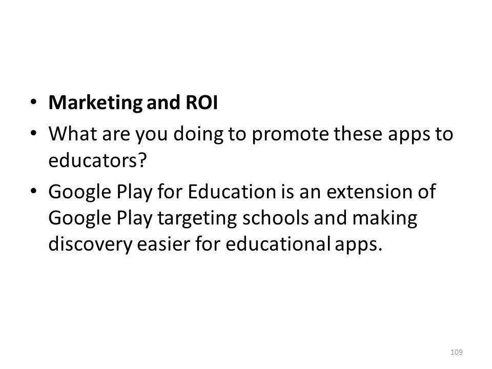 Marketing and ROI What are you doing to promote these apps to educators