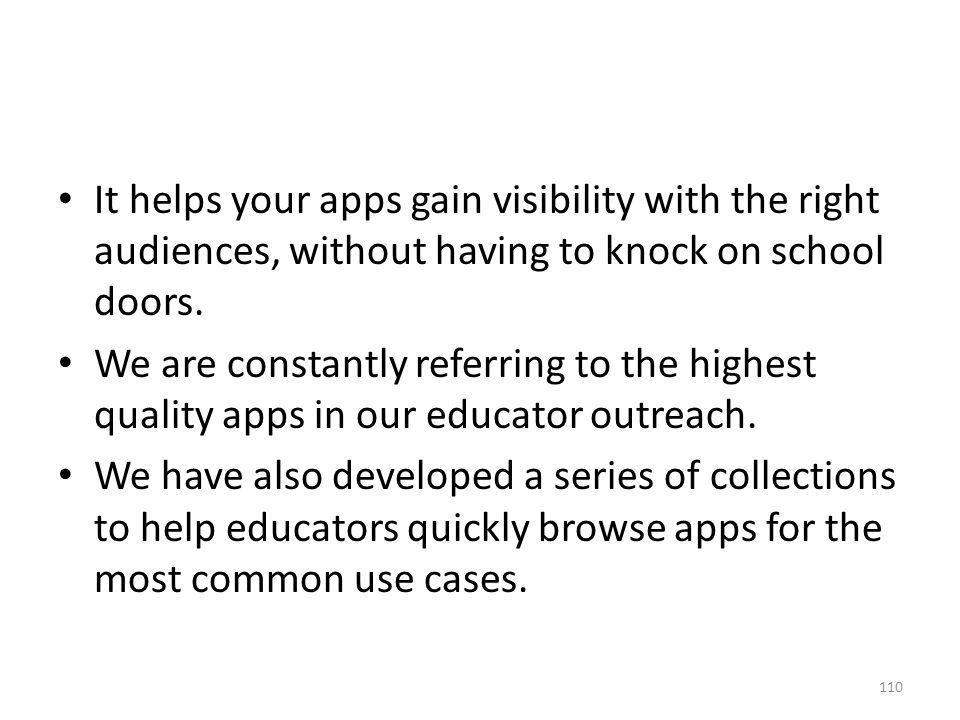 It helps your apps gain visibility with the right audiences, without having to knock on school doors.