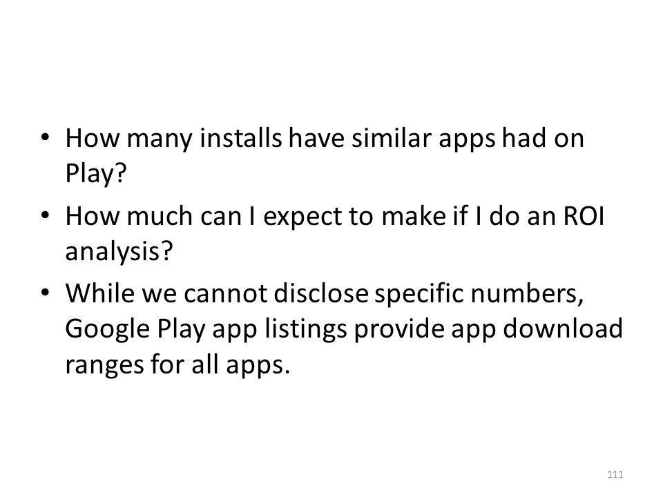 How many installs have similar apps had on Play