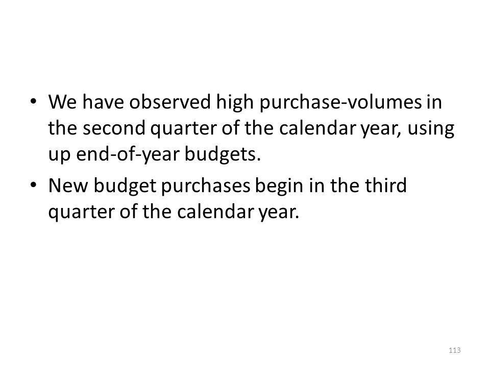We have observed high purchase-volumes in the second quarter of the calendar year, using up end-of-year budgets.
