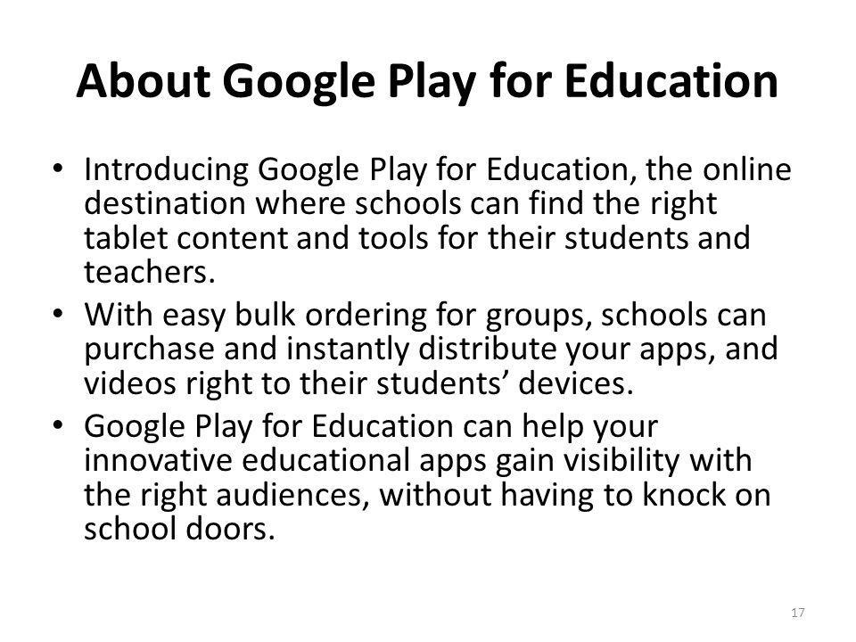 About Google Play for Education