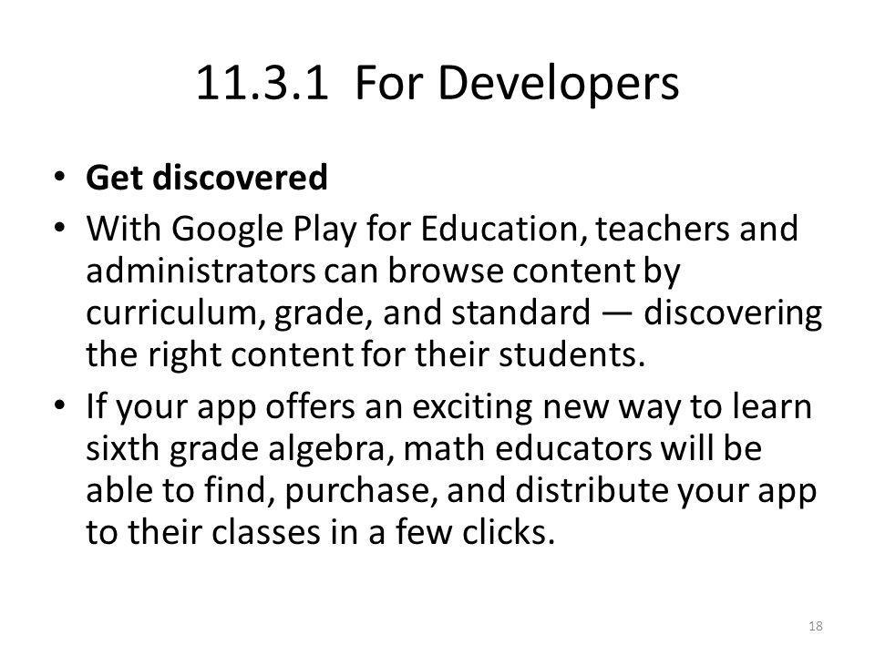 11.3.1 For Developers Get discovered