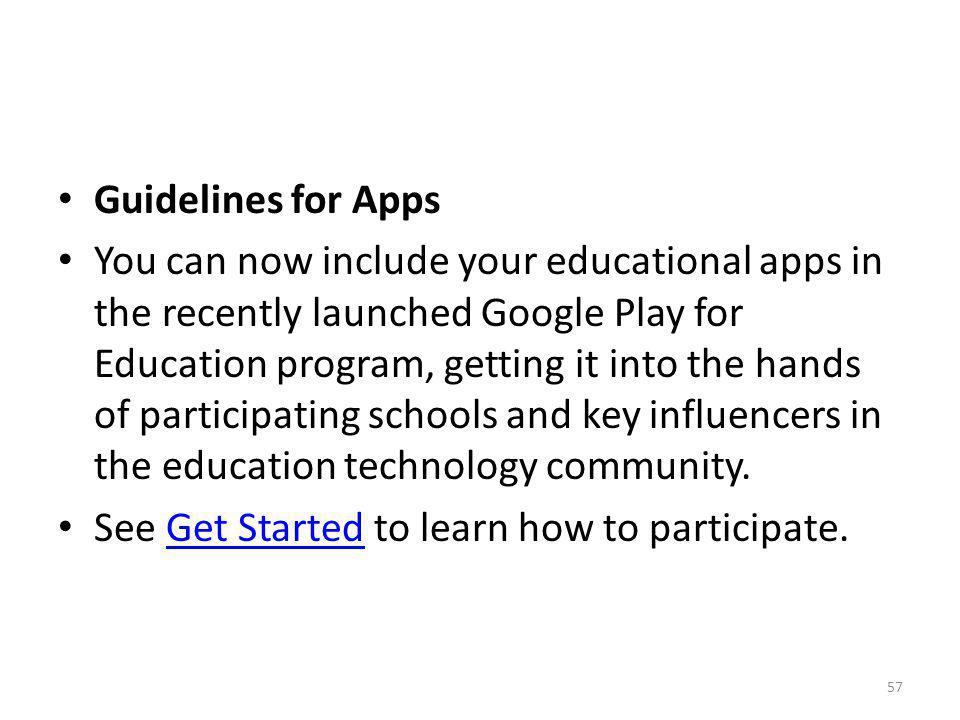 Guidelines for Apps