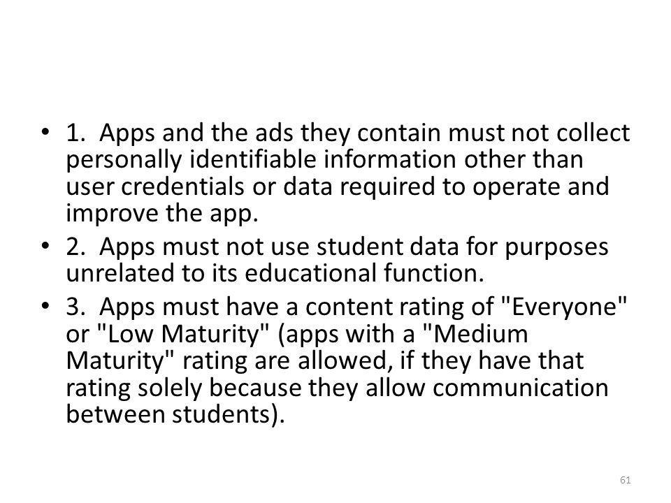 1. Apps and the ads they contain must not collect personally identifiable information other than user credentials or data required to operate and improve the app.