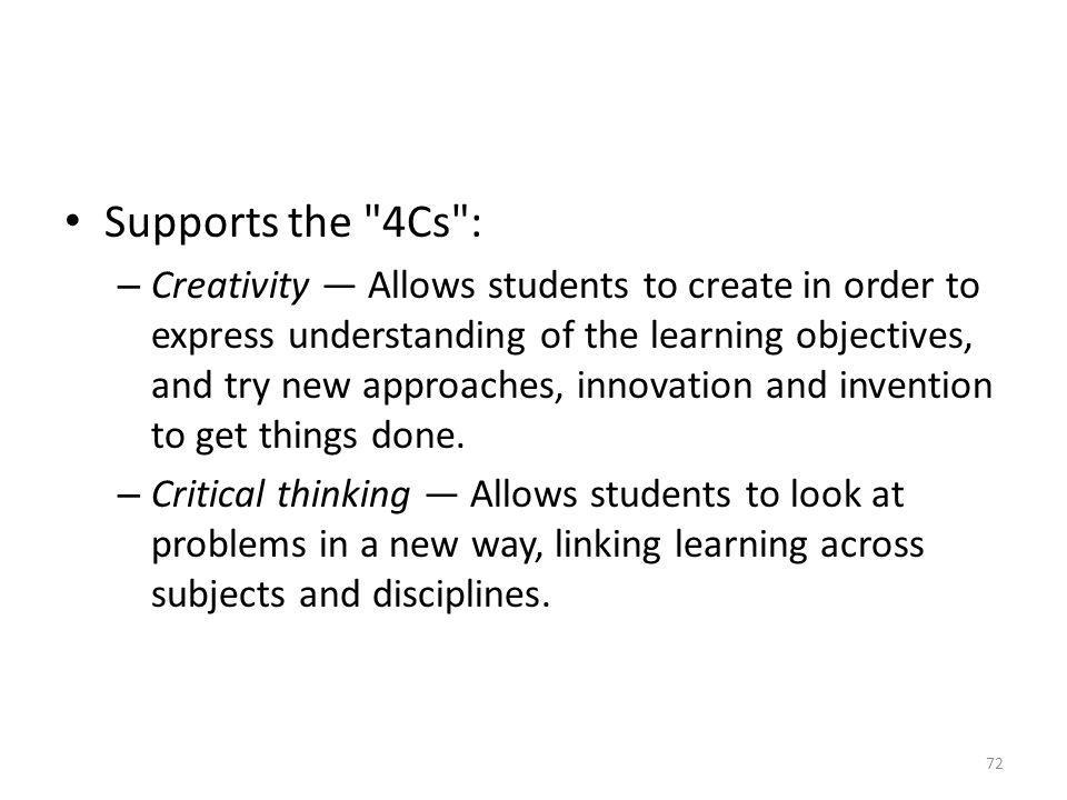 Supports the 4Cs :