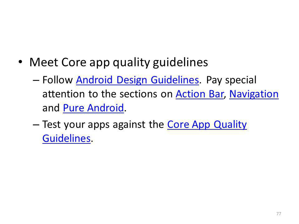 Meet Core app quality guidelines