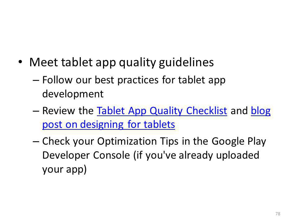 Meet tablet app quality guidelines