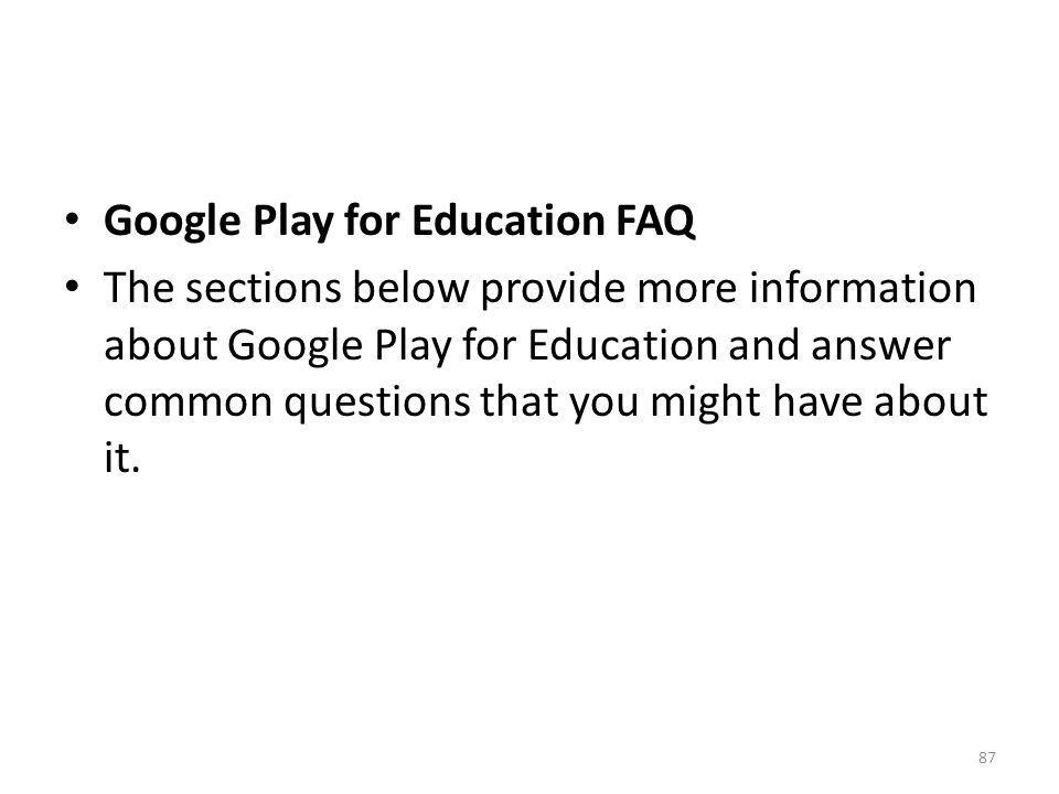 Google Play for Education FAQ