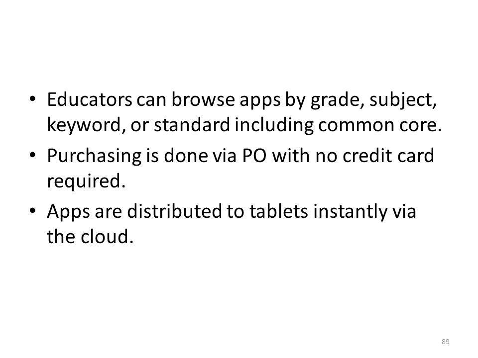 Educators can browse apps by grade, subject, keyword, or standard including common core.