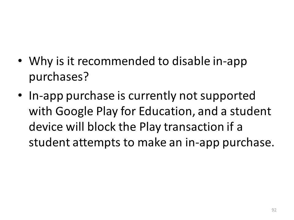 Why is it recommended to disable in-app purchases