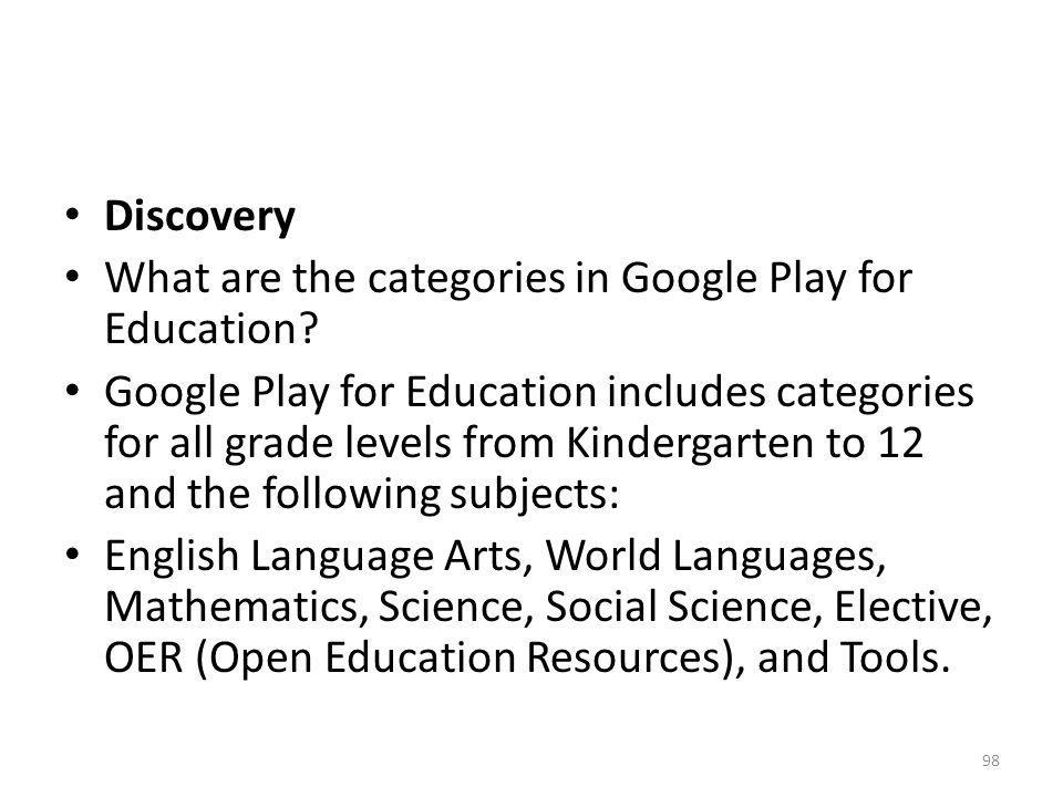 Discovery What are the categories in Google Play for Education