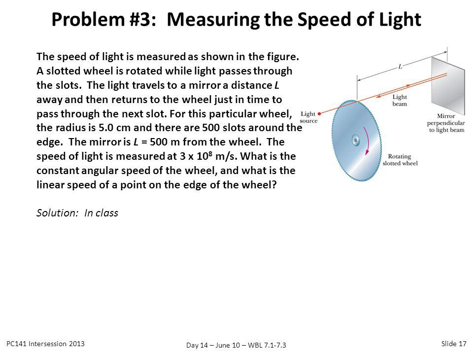 Problem #3: Measuring the Speed of Light