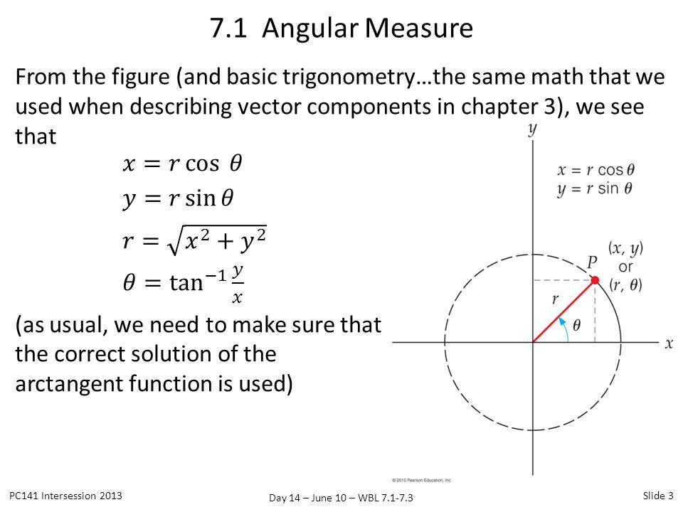 7.1 Angular Measure From the figure (and basic trigonometry…the same math that we used when describing vector components in chapter 3), we see that.