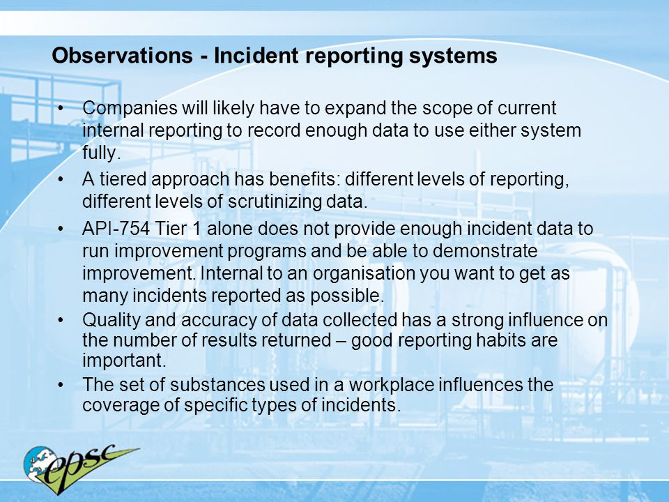 Observations - Incident reporting systems