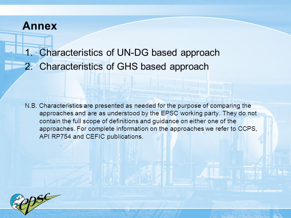 Annex Characteristics of UN-DG based approach