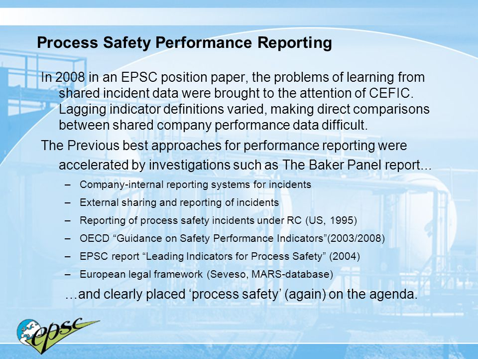 Process Safety Performance Reporting