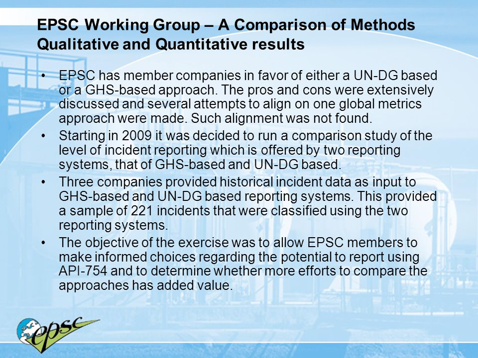 EPSC Working Group – A Comparison of Methods Qualitative and Quantitative results