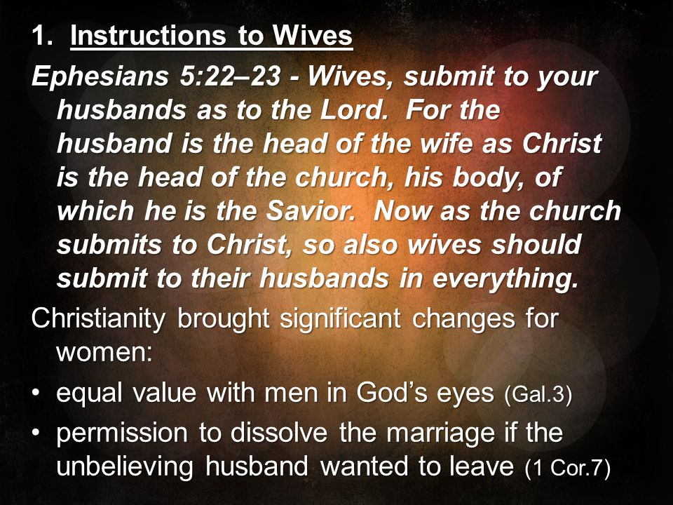 1. Instructions to Wives