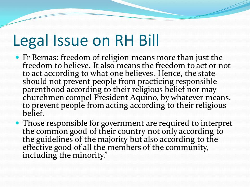 Legal Issue on RH Bill