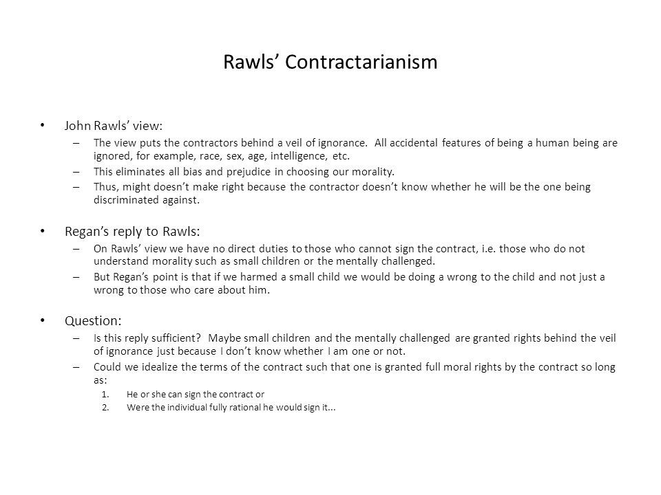 Rawls' Contractarianism