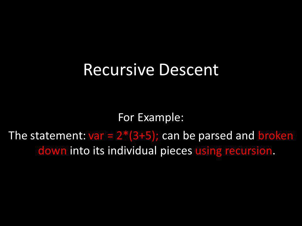Recursive Descent For Example: