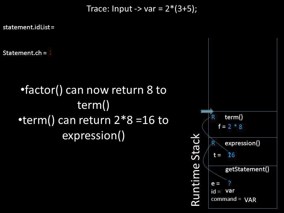 Trace: Input -> var = 2*(3+5);