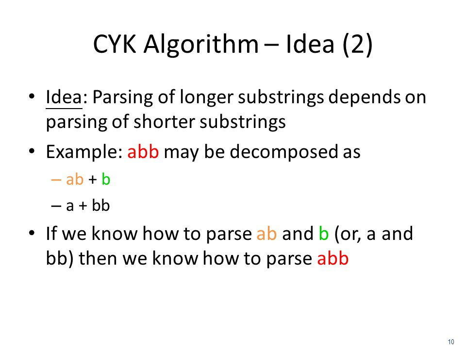 CYK Algorithm – Idea (2) Idea: Parsing of longer substrings depends on parsing of shorter substrings.