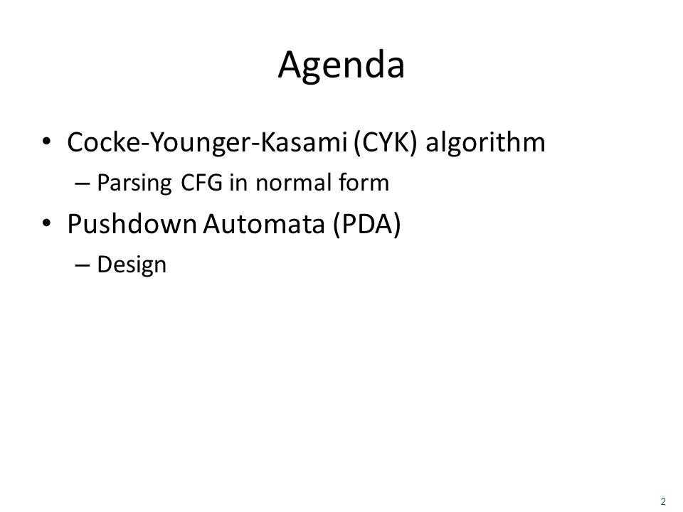 Agenda Cocke-Younger-Kasami (CYK) algorithm Pushdown Automata (PDA)