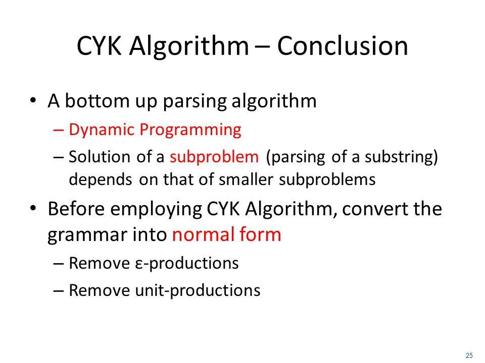 CYK Algorithm – Conclusion