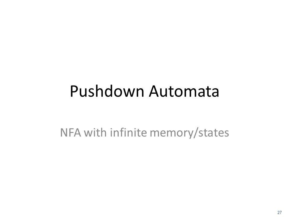 NFA with infinite memory/states