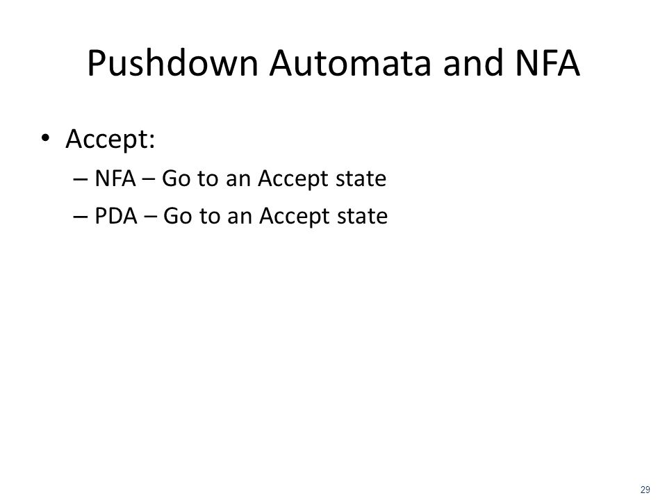 Pushdown Automata and NFA