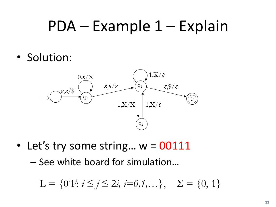 PDA – Example 1 – Explain Solution: Let's try some string… w = 00111