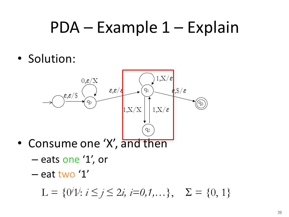 PDA – Example 1 – Explain Solution: Consume one 'X', and then